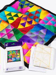 Selyemkendő |  55x55cm | Előkontúrozott | Triangles |P8 |  IDEEN 46366