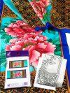 Selyemsál |  45x180cm | Előkontúrozott fekete | Pünkösdi rózsa | P8 | IDEEN46154