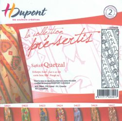 Selyemsál |  45x140cm | Előkontúrozott fekete | QUETZAL| P5 | H.Dupont 4628