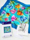 Selyemkendő |  55x55cm | Előkontúrozott | Flowers | P8 |  IDEEN 46402