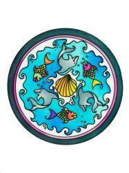 Selyem mandala | 20cm | Előkontúrozott | Dolphins | Ponge 8 | IDEEN 46637